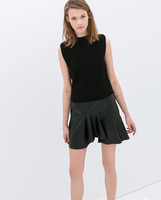 2014 Summer New Women Fashion PU Leather Mini Skirt with Frills Sweep 5011106502