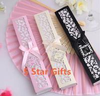 80PCS/LOT Luxurious Silk hand Fan in Elegant Gift Box wedding bridal shower favor party gift