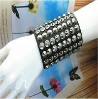 Hot Gift Metal Rock Punk Stylish Big Wide Spike Rivet Wide Leather Bangle Cuff Bracelet  Men's Wristband Size Adjustable