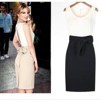 New Womens Open Back Bowknot Belt Vest Sundress Party Evening Mini Pencil Dress vestidos WZ006