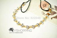 New 2014 Fashion Clear Drop Rhinestone Gold headband head chain Hair Bands wedding Hair Accessories TS341