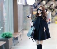 2014 New Korean Winter Women's Tweed Coat Batwing Wool  Poncho Winter Coat  Loose Cloak Cape Black Outwear