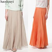 Skirts Womens Nude-Colored Chiffon Summer Long Skirts XS S M L XL XXL Skirts HDY1-7