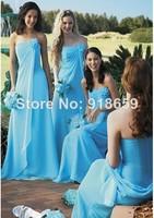 Wholesale Strapless Flower On Neck Chiffon Long Blue Bridesmaid Dresses Custom Made
