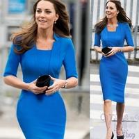 2014 New Womens Vintage Pinup Bodycon Business Party Shift Pencil Dress Kate Princess Dress Half Sleeve Midi Blue Office Dress