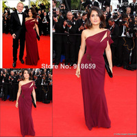 Wholesale-One Shoulder Straight Beads Pleated Chiffon Celebrity dress 67th Cannes vestido de festa longo Evening Dress
