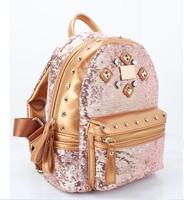 Fashion star 2014 women's handbag school bag rivet diamond paillette backpack travel bag