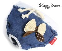 Pet female dog underwear Puppy sanitary Cute dog jean bowknot short panty Brand dog diaper pet pants apparel Dog bib underpants