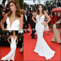Wholesale-Cindy Crawford Celebrity Hot Red Carpet Cannes Dresses Halter Gold Beads Mermaid White Evening Dress