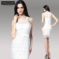 Dorisqueen Retail/Wholesale Jewel Sheath White Lace Short Empire Party Gown Prom Dress 2014 Women Celebration Evening dress 6078