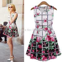 2014 hot sale summer new high-end European and American  plaid sleeveless chiffon dress