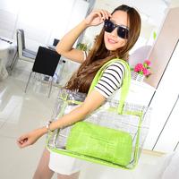 Transparent women bag summer women handbag candy color beach bag free shipping LJF