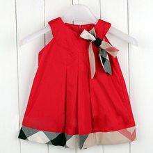 1PCS 2014 Children Kids Plaid Baby Girls Summer Sleeveless Dress Princess 4-24Months Free Shipping(China (Mainland))