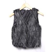 faux fur vest fur & leather coletes pele  fashion all-match popper women's faux vest