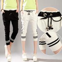 2014 black-and-white drawstring slim loose casual sports capris cotton thin female