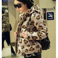 2014 winter women's padded jacket thickening women's small jacket slim leopard print design short wadded free shipping