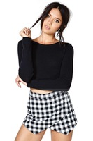 2014 women sexy skirts Black and white yarn-dyed plaid skirt short paragraph female cross  invisible zipper Short Skirt