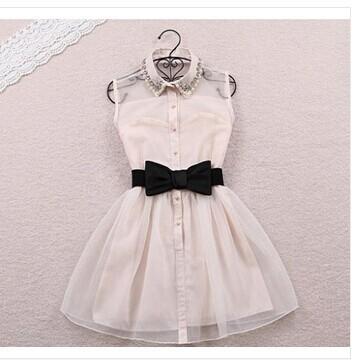 Free Bow Belt Spring Summer 2014 New Fashion Sweet Pearl Diamond Lapel Waist Sleeveless Tank Vest Dress Gauze Tutu LQ9121(China (Mainland))