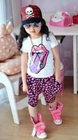 2014 New Kids girls summer short-sleeved + pants suit cartoon tongue dot harem pants casual pants suit baby's clothes free ship