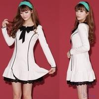 New Sale 2014 Autumn Women Lovely Peter pan Collar Bow Dress Scalloped Tie Stretch Winter Dress Long Sleeve Casual Dresses S-XL