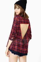 2014 women Chiffon Blouse Red plaid long-sleeved lapel back blouse hollow triangle shirt  XS -XXL