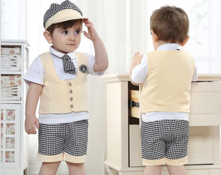 2014 New Arrival Baby Clothing 4pcs Set School Summer Boy Gentleman Waistcoat Tshirt Cap Shorts Kids Suit Children Sets GX386(China (Mainland))