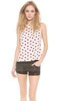 2014 women Chiffon Blouse Strawberry printing playful sleeveless chiffon blouse back closure  XS -XXL