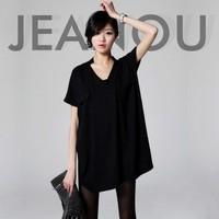 Women Summer Casual Dress 2015 Mini V-Neck Batwing Sleeve Black Cotton Vintage Plus Size Vestidos Femininos Fashion Dresses