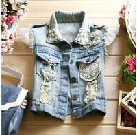 hot selling! 2014 women's Spring short denim jacket vest Women sleeveless lace patchwork vest Tops Beads Vests ,Free shipping