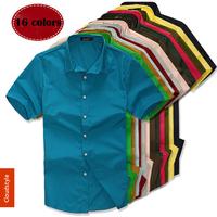 New Arrival  fashion boutique Mens Slim fit Unique neckline stylish Dress short Sleeve Shirts Mens dress shirts 16colors M-XXXL