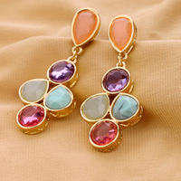 New Fashion Vintage Colorful Bohemian Drop Earring For Women European Design Summer Party Jewelry Wholesale free shipping