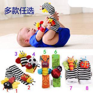 Grátis 4pcs marítimo / muito garoto presente pulso pé chocalho localizador , bebê pulso brinquedo chocalho + Foot , brinquedos de pelúcia infantil oddler(China (Mainland))
