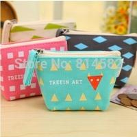 Partysu Women wallets Canvas small change purse The coin bag  The geometric pattern women handbag free shipping 8pcs/lot