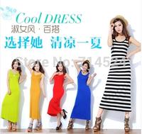 2pc/lot,2014 New  fashion brand women casual plus size maxi Sleeveless Cotton summer beach a-line striped tank long dress