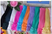 2pcs/lot niñas corta de terciopelo niña leggings de encaje color caramelo 12 colores para 2-9 años(China (Mainland))