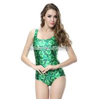2014 hot sale new women printed green leaves flowers swimwears 3D swimwears sexy one piece swim suits
