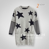 New arrival 2014 Kids Girls Brand X-long Sweaters 3-8 years old girl sweater