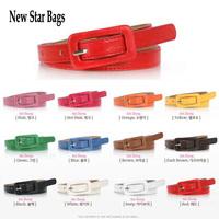 2014 New fashion accessories women's square toe thin belt pin buckle chain candy color strap H040E