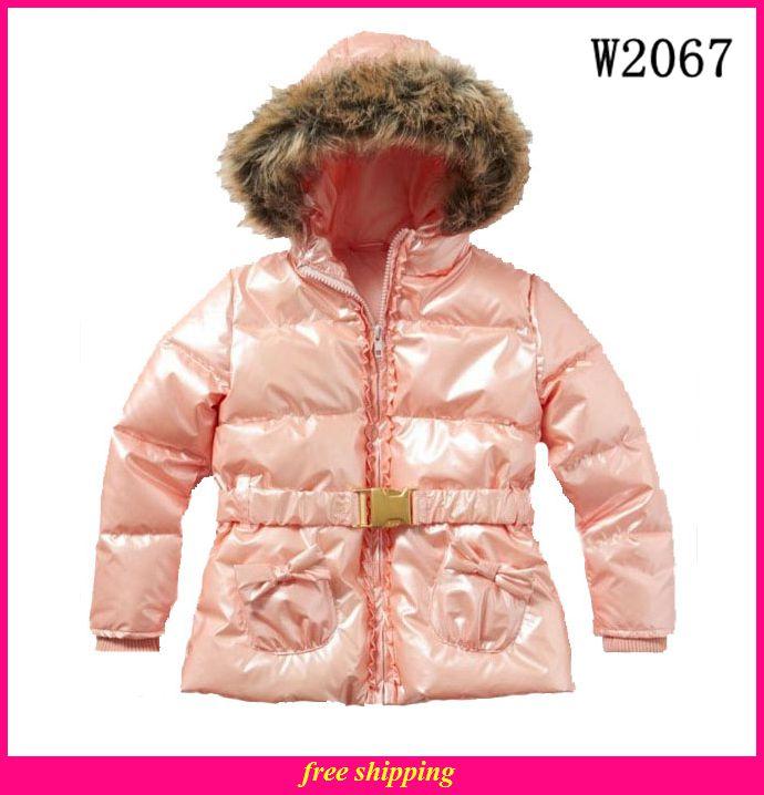 2014 novo inverno europeu e americano meninas algodão brilhante outwear windproof roupas infantis w2067(China (Mainland))