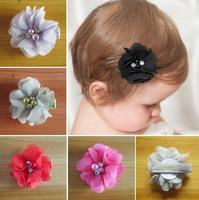 Free shipping , Wholesale 70pcs/lot 14colors chiffon flower hair clip Baby Girl hairpin Girls hairpin