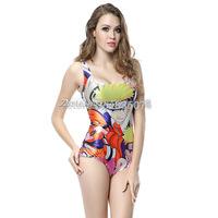 2014 hot sale new womenNaruto pattern printed swimwears 3D swimwears sexy one piece swim suits