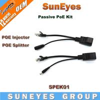 SunEyes PoE Cable Kit Passive Splitter Injector Adapter Power Over Ethernet RJ45 Copper Plug SPEK01
