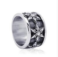 Vintage Men Titanium Steel Rings Handmade Retro Hexagram Flowers Man Ring Men Jewelry LJR058