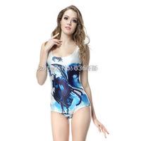 2014 hot sale new women Black Rock Shooter printed swimsuit swimwears 3D swimwears sexy one piece swim suits