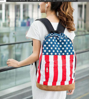 Lowest price 3Pcs/Lot 2014 Hot Sale Unisex Punk School Book Campus Packbag UK/USA Flag Canvas Backpack