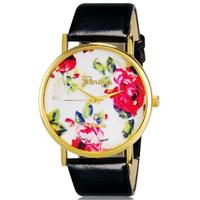 WoMaGe women dress watch Fashionable Women's Platinum Analog Quartz Wrist Watch with Flower Pattern & PU Band