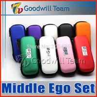 Best  Middle Ego Kit  Double e cigarette kit 2 CE4 atomizer Clearomizer 2 batteries  Electronic Cigarette set series 50pcs