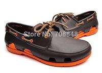 Free shipping Men shoes hole hole shoes 2014 Men Beach Line Boat Shoe M7-M11  Fashion men's shoes coffee  wholesale