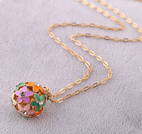 Cute Fashion Rhinestone Hollow Out Painted Colorful Alloy Flower Ball Necklace SN538