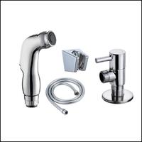 Free Shipping Chrome Handheld Bidet / Portable Bidet Shower Set With Brass Bidet Faucet 1.5m Hose Bidet Mixer torneira banheiro